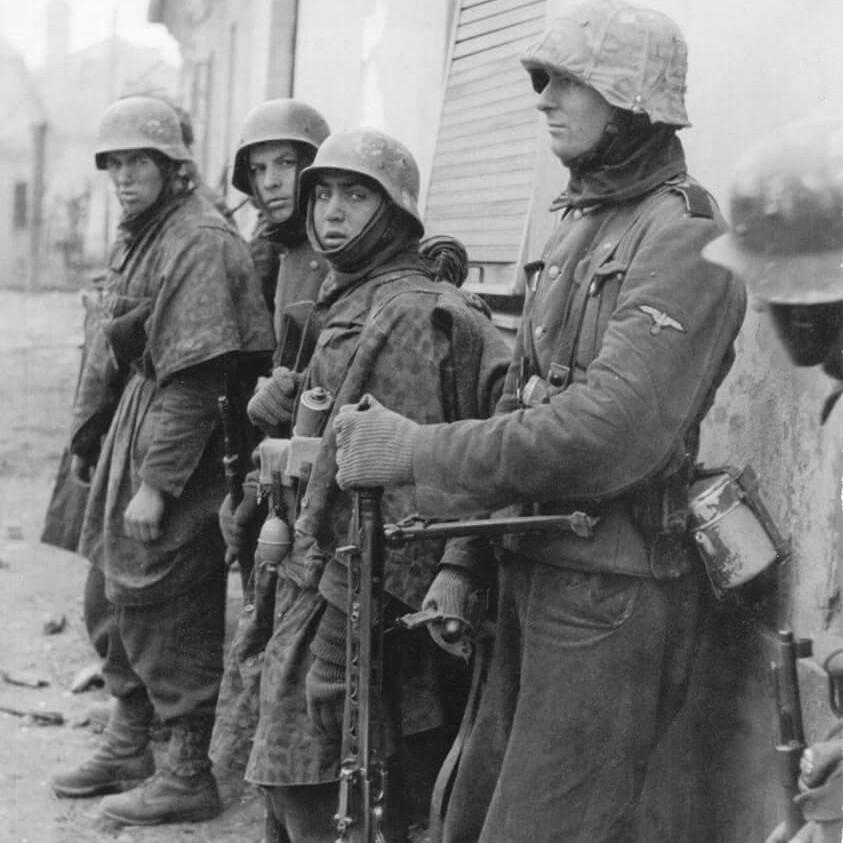 """Waffen SS"", ""Zeltbahn"",""MG 42"", ""Helmet Cover"","